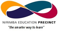 "Mobius strip logo of the Nirimba Education Precinct with thier moto of ""the smarter way to learn"""