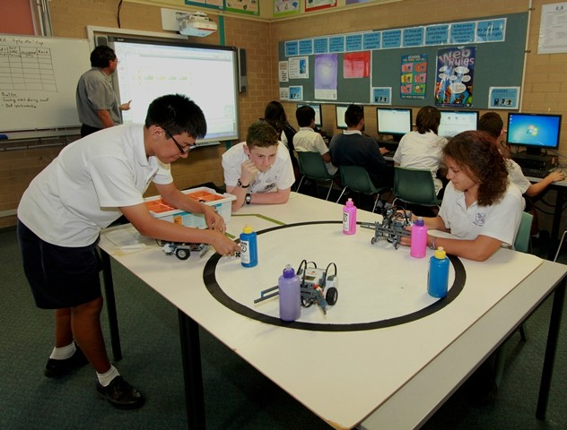 Quakers Hill High School students engaging in a robotics class.